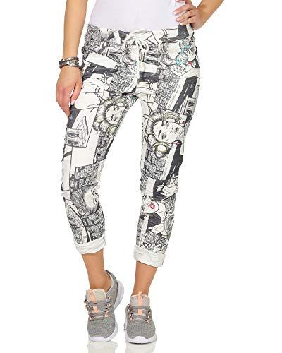 ZARMEXX Damen Freizeithose Baggy Jogg-Pants Sport Sommerhose Pop Art Print Streetwear