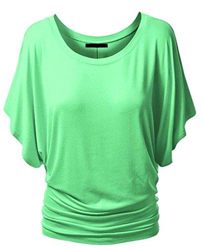 NiSeng Donne Solido Di Colore Collo Della Barca Camicia A Maniche Corte T-shirt Fuori Dalla Spalla Slim Fit Casuale Tops Verde Luce