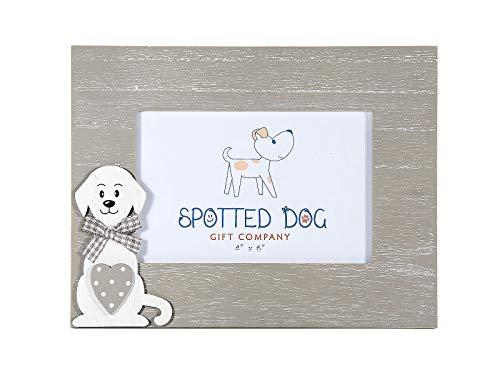 SPOTTED DOG GIFT COMPANY Marco de Fotos de Madera Horizontal 10 x 15 cm portafotos Color Gris Decorado con Perro, de pie o para Colgar en Pared, Regalo para Amante de los Perros