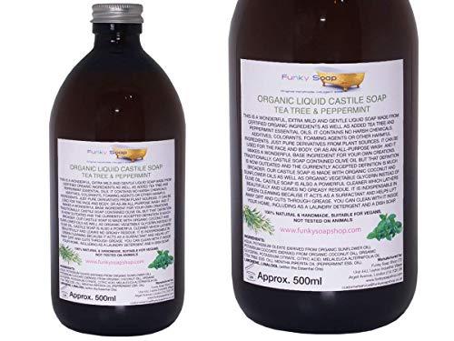 Organisches Kastilien Seife Tea Tree / Pfefferminze, Glas von 500ml, 100% Natürlich & SLS Frei (Seife Teebaum Kastilien)