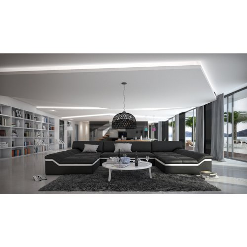 XXL Wohn-Landschaft mit Kunstleder Bezug 380x220 cm U-Form schwarz / weiß | Sarari-U | Designer Eck-Sofa mit 2 Recamieren | Couch-Garnitur für Wohnzimmer schwarz / weiss 380cm x 220cm - 2