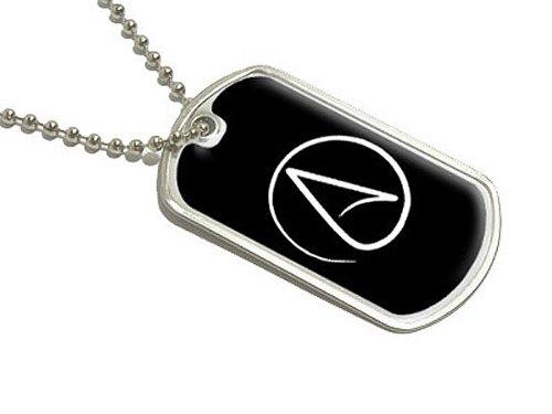 Atheismus Symbol–Atheist–Weiß auf Schwarz–Militärische Erkennungsmarke Gepäck Schlüsselanhänger