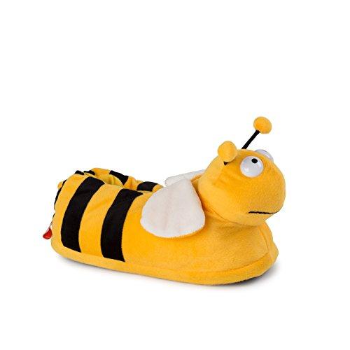 Funslippers Damen Hausschuhe Tierhausschuhe Puschen Pantoffeln Schlappen Biene Gelb Plüsch Warm Innensohle Gepolstert Sneakersohle Rutschfest S 36/38 EU (Neben Kaninchen Hausschuhe)