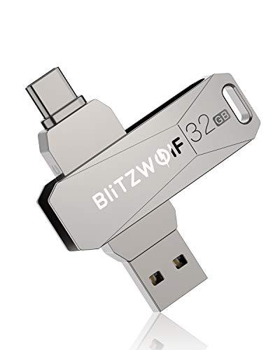 USB Stick, BlitzWolf 2 in 1 USB3.0 +Typ C USB C Stick Aluminium OTG Speicherstick Flash Drive Memory Stick für PC, Laptop, Tablet, PC, Notebook, Lautsprechern und Smartphones usw (32GB)