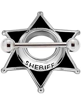 Brustwarzen Piercing Sheriff Stern Chirurgenstahl Hantel 925 Sterling Silber