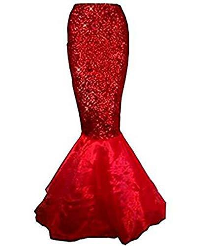 (Beauty GO Frauen Halloween Costume Cosplay Mermaid Fancy Dress Abendröcke (L, Red))