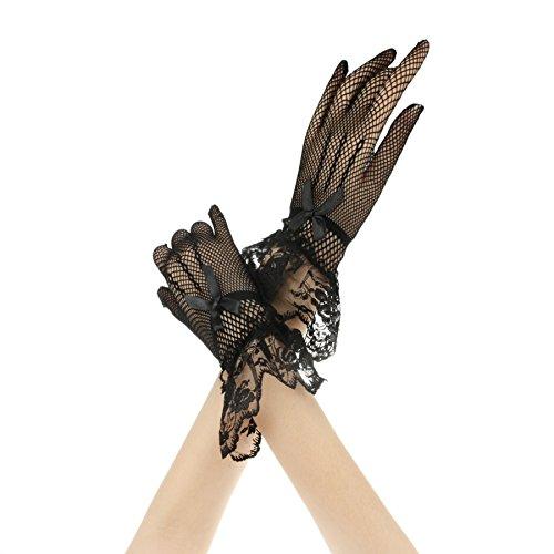 FakeFace Brauthandschuhe Fingerspitzen Handgelenk-Länge Handschuhe Brautaccessoires Spitze Fischnetz Party Abendhandschuhe für Frühling Sommer Herbst 1 ()