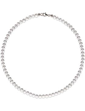Bergkristall Schmuck (Halskette) Bergkristall Kette Kugeln Verschluss 925er Sterling-Silber