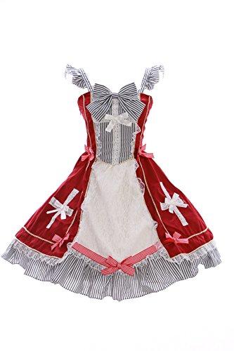 JL-619 rot Stretch Classic Gothic Lolita Kleid Kostüm dress Cosplay Kawaii-Story (Stretch M-L) (Toy Story Toy Brust)