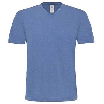 B&C - T-shirt deluxe à manches courtes et col en V - Homme (S) (Bleu)