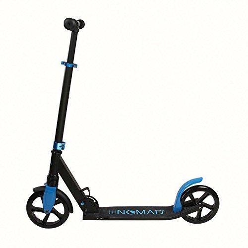 Kickscooter für Erwachsene bis 100 kg Tretroller Cityroller Kickroller Klappbar (Große PU Räder, Ultra-Leicht, Tragbar, Stahlbremse, Schwarz-Blau)