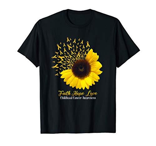 Faith Hope Love Childhood Cancer Awareness Sunflower T-Shirt -