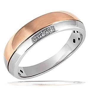 Goldmaid Damen-Ring 925 Sterlingsilber rot vergoldet 5 weiße Zirkonia