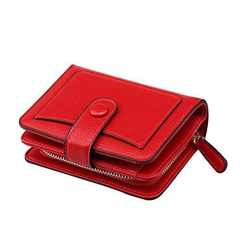 PVNKIT Brieftasche Frauen Leder Geldbörse Münzfach Dame Kartenhalter Kurze Kupplung Münzfach Reißverschluss Geldbörse Hohe Qualität - Brieftasche Snap-kupplung Geldbörse