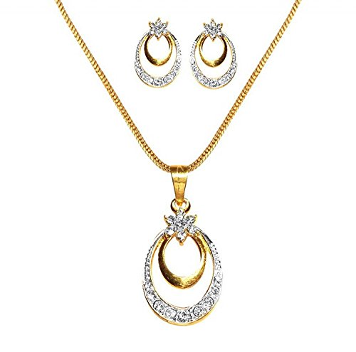 Dg Jewls Pendant Set American Diamond 24K Gold Plated With Pearl Necklace Combo For Women