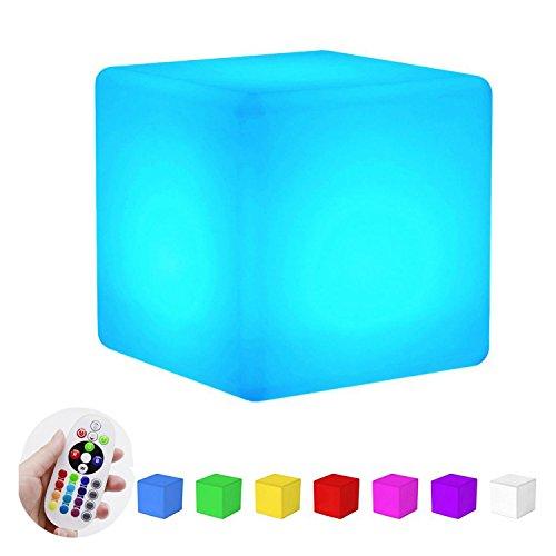 LED Gartenleuchte Würfel/Cube Lampe,SUAVER Wasserdichte Farbwechsel LED Tischlampe,Dimmable Nachtlicht Stimmungsleuchte Dekoleuchte Außenleuchte Gartenlampe Würfelleuchte