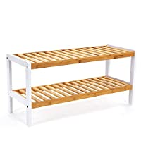 SONGMICS Natural Bamboo 2-Tier Shoe Rack