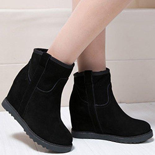 Oasap Femme Boots Bout Rond Couleur Pure Talons Compensés Wedge Bottes Chaussure Montantes Wedge Bottes Chaussure Montantes Gris
