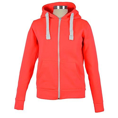 Damen & Herren Unisex Zipp Hoodie Kapuzenpullover Jacke Sweatshirt Neonorange