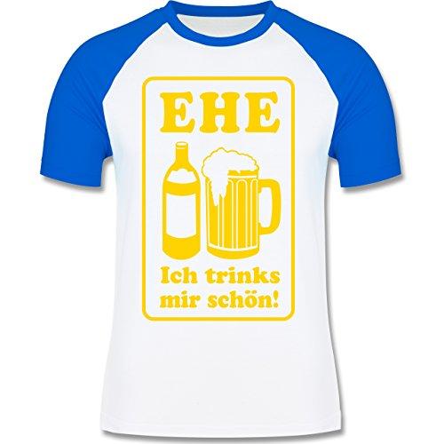 JGA Junggesellenabschied - Ehe - Ich trinks mir schön - zweifarbiges Baseballshirt für Männer Weiß/Royalblau