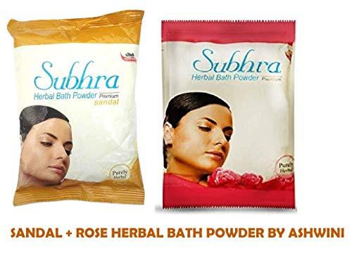 ASWINI SUBHRA HERBAL BATH POWDER PREMIUM SANDAL & ROSE 200gm - Pack Of 2