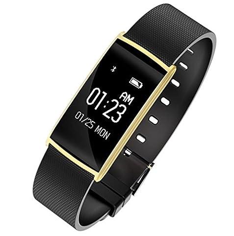 Joyeer Bracelet intelligent Pression artérielle Oxygène Mesure de la fatigue Contrôle du rythme cardiaque Podomètre du bracelet Permet de rappeler l'appel à distance Message Push Smartband pour Android IOS , gold