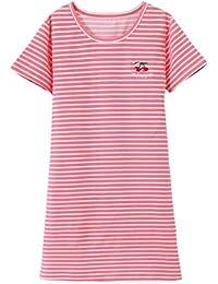 Niñas Camisetas De Pijama Raya Camisón Cuello Redondo Manga Corta T Shirts Vestidos ...