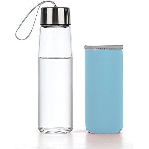 MEICHEN-Café de viajesFrasco de vidrio con tapa transparente de la botella de agua recipiente de agua portátil Creativo estancos taza de hombres y mujeres gastan alrededor de tazas taza de limón, Azul