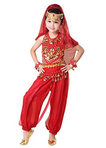 (AniKigu Mädchen Bauchtanz Pailletten Set Fasching Halloween Karneval Tüll Darbietungen Kostüm 7 Stücke Tanzkleidung)