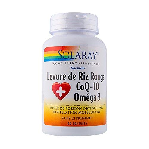 levure Riz Rouge + Q10+ Omega 3–600/30/500mg–60GL–Solaray Kal