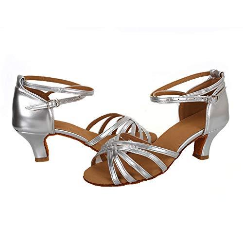 VESI – Damen Schuhe Standard/Latein 5cm/7cm Absatz Silber 40 - 2