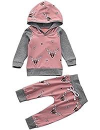 sunnymi 2 Stücke Baby Mädchen Kleid �� Deer Brief Print �� Strampler Overall + Hosen Set Casaul Kleidung Neugeborenen Outfits