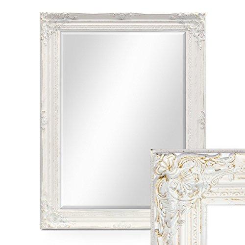 PHOTOLINI Wand-Spiegel im Barock-Rahmen Antik Weiss mit Facettenschliff 64x84 cm/Spiegelfläche 50x70 cm