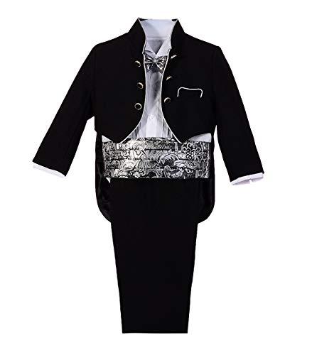 Lito Angels Baby Jungen 5 Stück set Jacquard Formale Anzug Jungen Tuxedo Page Boy Anzug Hochzeit Outfit Gr. 9-12 Monate Schwarz (Formale Tuxedo Hochzeit Schwarz)