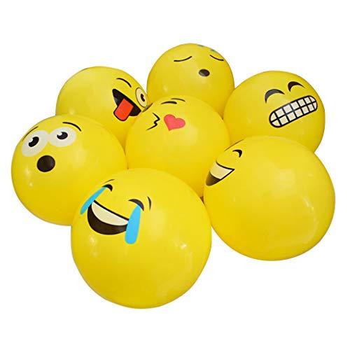 Jiamins 1pc Gelber Karikatur Emoji Gesichts-Ballon, Aufblasbares Ball-Spielzeug des Beach-Volleyball, Kindergeschenk