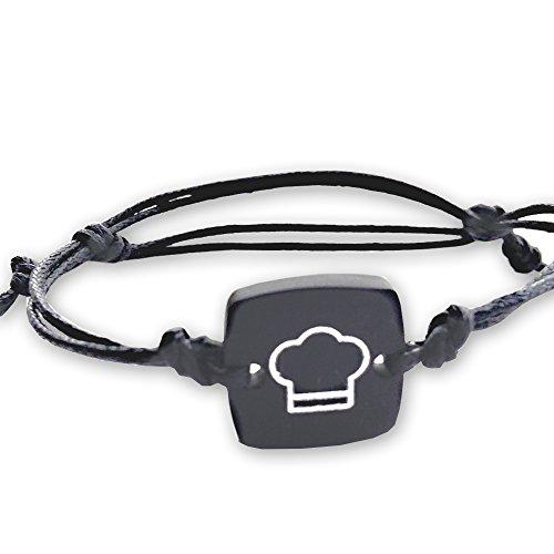 braccialetto-unisex-con-ciondolo-in-alluminio-anodizzato-nero-opaco-con-cappello-da-chef-cordino-in-