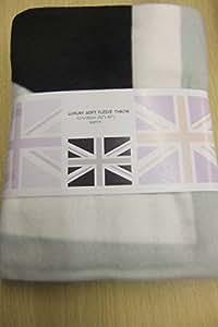 Union jack-table plaid en laine polaire douce motif noir