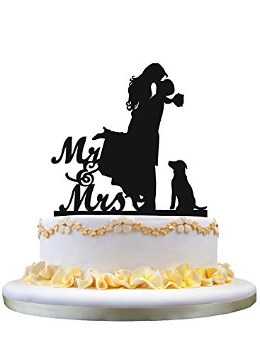 Cake topper with dog pet, Mr. and Mrs. Bride and groom that funny wedding cake topper