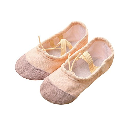 FNKDOR Ballerinas Schuhe, Mädchen 22-35 Segeltuch Ballett Pointe Tanzschuhe Fitness Gymnastik Hausschuhe (35, Beige) (Pointe Ballerina)