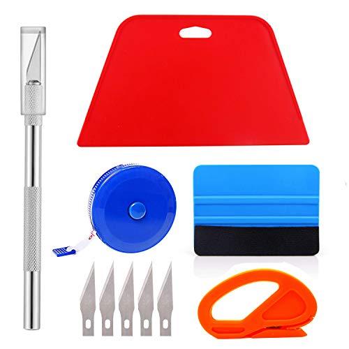 Ewrap Professionelles Tapetenwerkzeug mit Schneidewerkzeug, Filzrakel, Hartschaber, Maßband für Vinylfolie, Tapetenmontage -