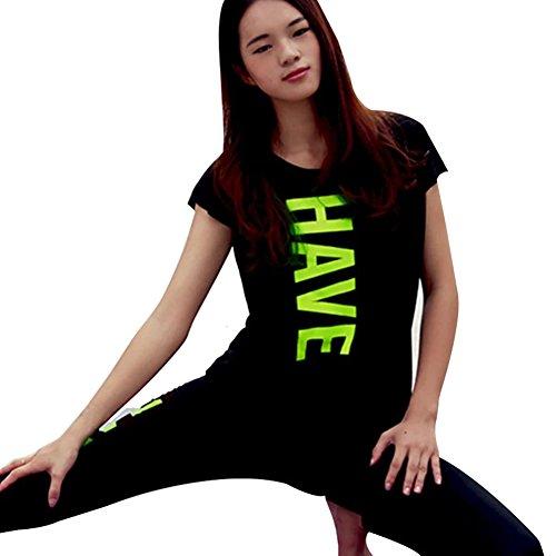 Keysui T-shirt Femme Sport Couleur Manches Courtes Top Short Sleeve Round Neck Vert