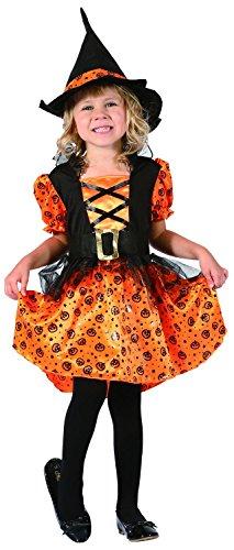 Kleine Kürbishexe - komplettes Hexenkostüm für Kinder Kleinkinder Halloween Gr. 92-104 - Hexenkostüm Mädchen inkl. Hut und Hexenkleid (Kleinkind Kleine Hexe Kostüme)