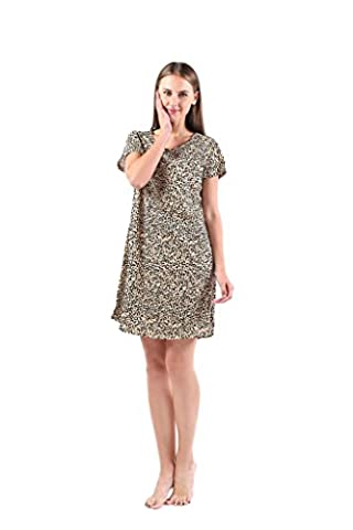 Amoy madrola Women's Cotton Blend Leopard Floral Nightgown Casual Nightshirt S EUXTSY001