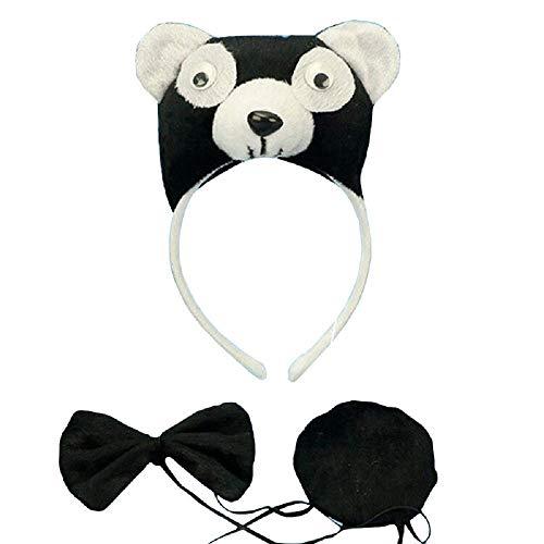 Lovelegis Panda - Stirnband Set - Schwanz - Fliege - Tiere - Frauen - Kinder - Karneval Kostüm Halloween Cosplay Zubehör - Geschenkidee (Frauen Panda Bär Kostüm)
