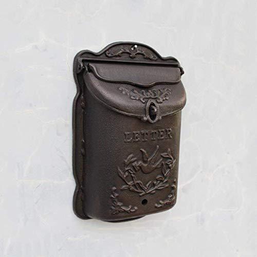 Eeayyygch Briefkasten, aus Gusseisen, Retro-Stil, Vintage-Stil, Wanddekoration, groß,