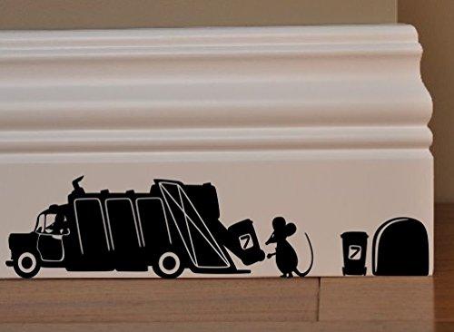 spb87 Maus Abfall Recycling Mülleimer Wheelie Minie Loch Home Live Kids Funny Art Wand Aufkleber Aufkleber Baseboard Kinder Mäuse Sockelleiste