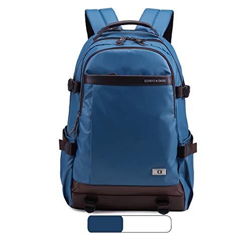 WEATLY 15-Zoll-Schulter-Laptop-Beutel-Rucksack-beiläufige Kursteilnehmer-Beutel-Reise im Freien Wasserdichte große Kapazitäts-Rucksack (Color : Blue)