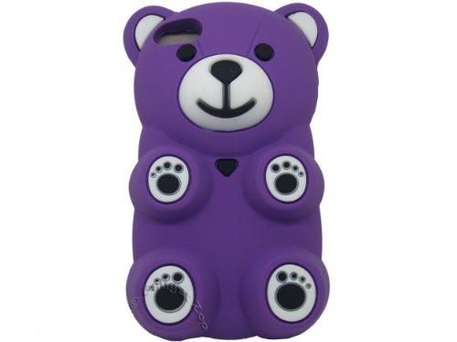 Gadget Zoo Coque en silicone pour iPhone 5/5S Motif ourson 3D blanc - blanc Violet - violet