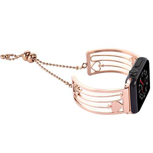 Bands für Apple Watch 38mm 40mm,Rosegold Damen Edelstahl Sport Uhr Armband für iWatch Series 4 40mm,Series 3 2 1 38mm Edition Nike+