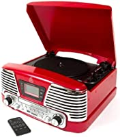 GPO Memphis 4-in-1 Musik-Center mit CD und FM Radio rot